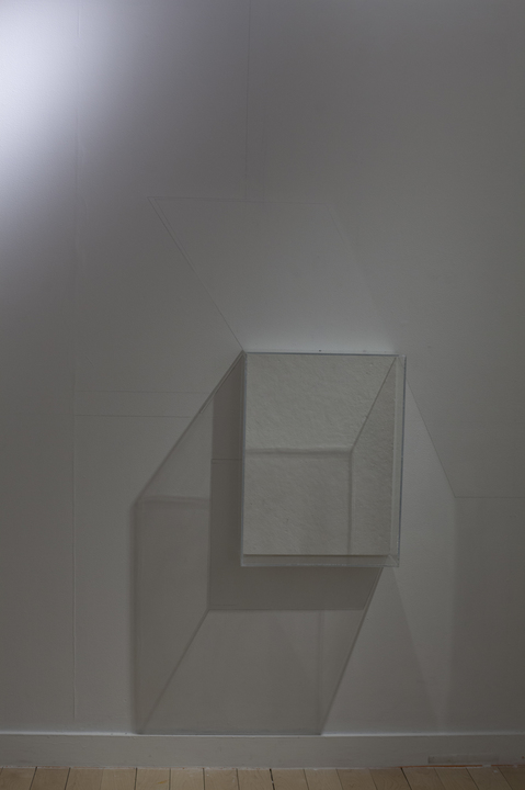 Leah Cooper projection room materials include: wall vitrines, graphite, light, and shadow, and existing site elements