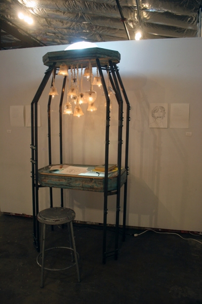 leah floyd Traces of a Cathedral wood, steel, glass, light bulbs, muslin