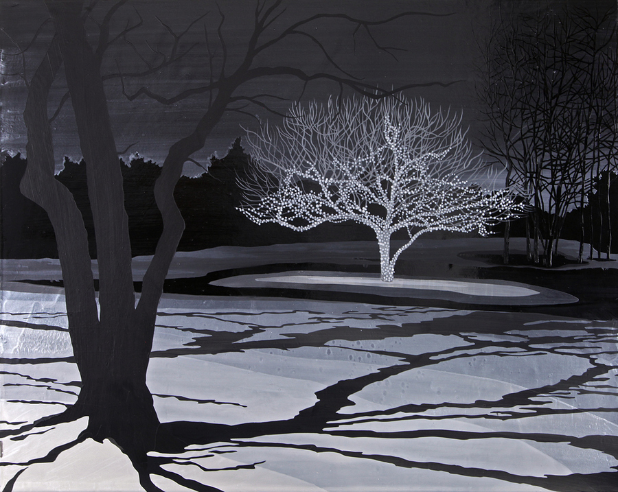 Leigh Tarentino Memory of Snow 2011-2014 acrylic on wood panel