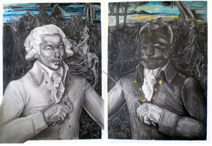 LENNON JNO-BAPTISTE DRAWINGS Acrylic, graphite and gold leaf and aluminium on paper; diptych