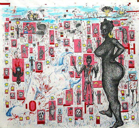LENNON JNO-BAPTISTE DRAWINGS Acrylic, graphite, colored pencil, and artist tape collage on paper