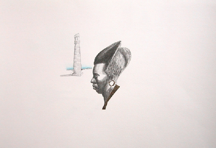 LENNON JNO-BAPTISTE DRAWINGS Graphite, colored pencil and gold leaf on paper