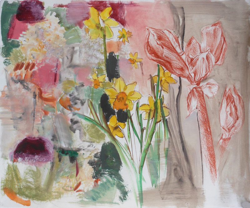 FLORALS Amaryllis Buds and Wine Glass