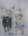 FAMILY ALBUM pastel on paper
