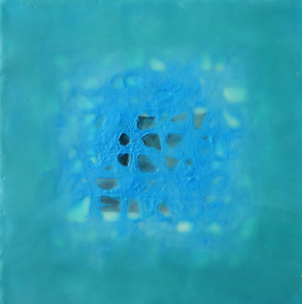 Leslie Ford Fathom pigmented beeswax with paper on panel