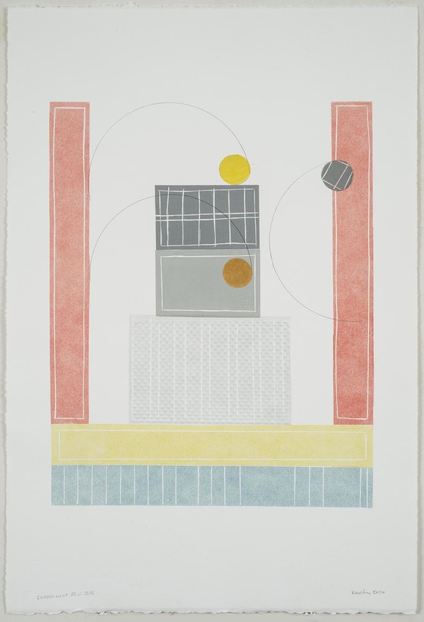 Leslie Kerby Containment | Works on Paper | Monoprints Monotype with Linocut, Embossing,Chine Colle and Graphite