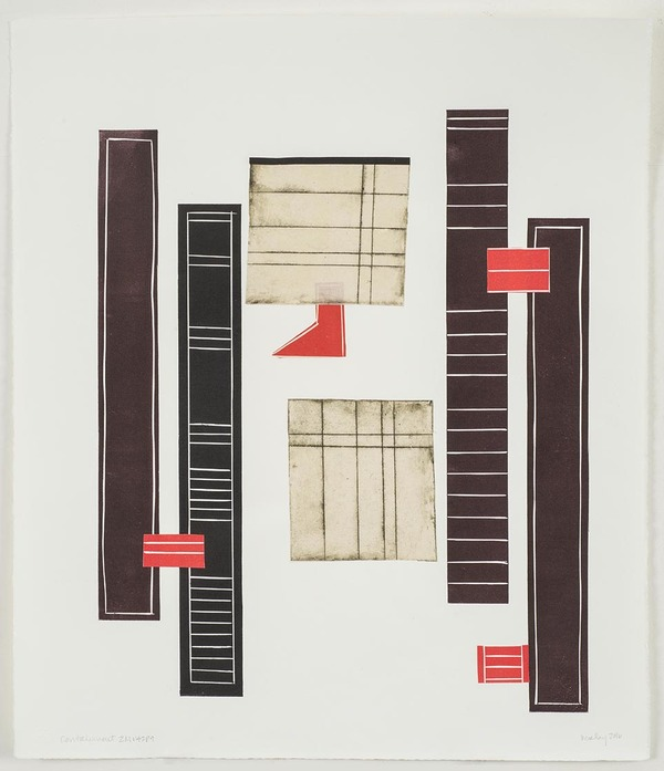 Leslie Kerby Containment | Works on Paper | Monoprints Monotype with Linocut, Drypoint and Chine Colle