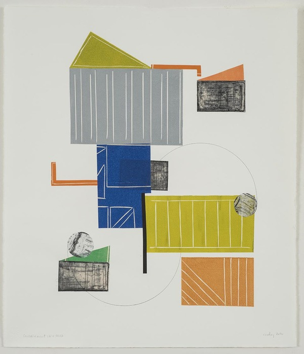 Leslie Kerby Containment | Works on Paper | Monoprints Monotype with Linocut, Etching, Chine Colle and Graphite