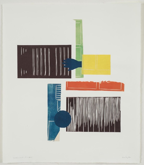 Leslie Kerby Containment | Works on Paper | Monoprints Monotype with Linocut and Chine Colle