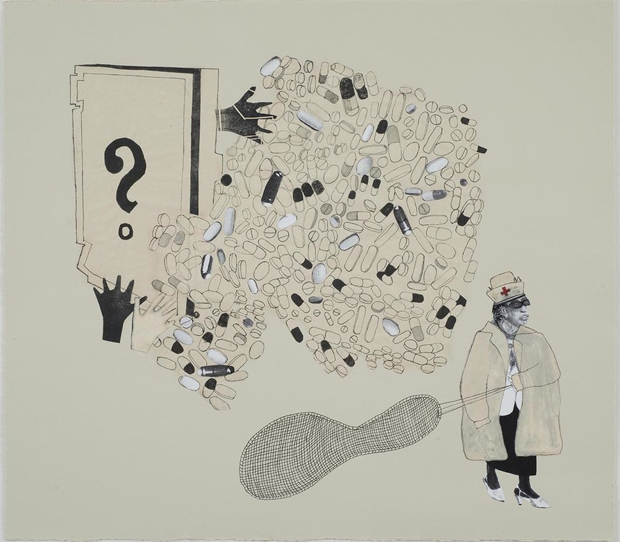 Leslie Kerby (NEW) The Laying On of Hands Mixed Media Collage with Pen and Ink, Paper Litho, Gouache