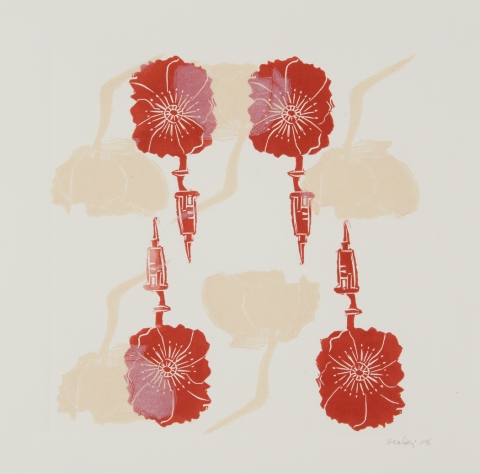 Leslie Kerby Poppies, Politics & Patterns Linocut