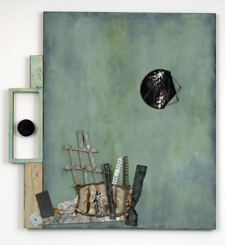 Leslie Shaw Zadoian Constructed Space Acrylic, oil pastel, pencil, plastic, metal and wood on canvas