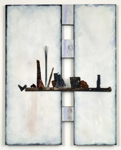 Leslie Shaw Zadoian Constructed Space Acrylic, pastel, pencil, metal and wood on canvas