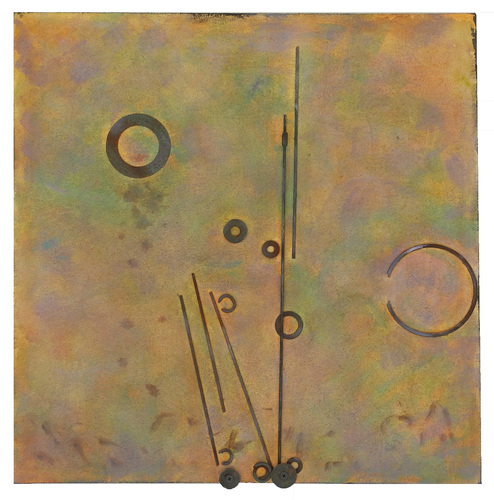 Leslie Shaw Zadoian Small Works Acrylic, pastel and metal on canvas