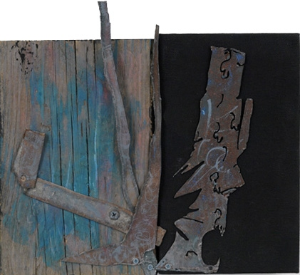 Leslie Shaw Zadoian Small Works Acrylic, pastel and metal on wood and canvas