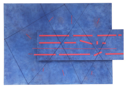 Leslie Shaw Zadoian Recent Work Acrylic, pastel, wood and string on canvas