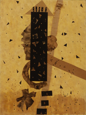 Leslie Shaw Zadoian Time and Place Acrylic, paper, burlap, wood and soot on canvas