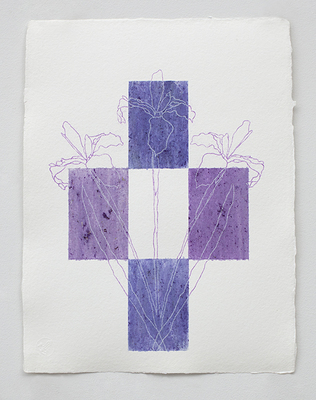 Linda Stillman Botanicals flower stains, transfer paper line on paper