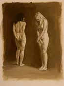 Frank Lind Nudes - Various Oil on paper