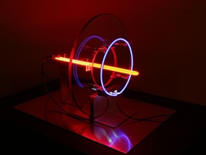 Lisa E. Nanni Metal, Neon, Glass, Acrylic copper, aluminum, glass, colored glass tubing, neon and argon gases, transformer