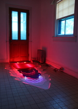 Lisa E. Nanni Installations  colored glass tubing, acrylic, mylar, fabric, neon and argon gas