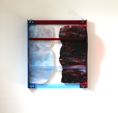 Lisa E. Nanni Metal, Glass, Acrylic blue and red anodized aluminum, art glass, acrylic
