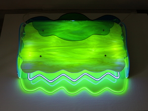 Lisa E. Nanni Metal, Neon, Glass, Acrylic aluminum, art glass, acrylic, colored glass tubing, argon gas, transformer