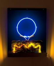 Lisa E. Nanni Metal, Neon, Glass, Acrylic anodized aluminum, colored glass tubing, blue acrylic, blue Uroborus glass, argon gas,  transformer