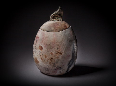 Raku, Pit Fire and Luster ware Oval lidded pit fired jar