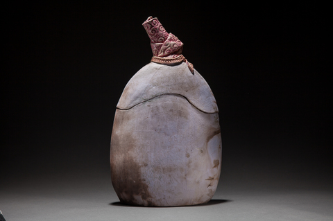 Raku, Pit Fire and Luster ware Purple lidded vessel with pink top