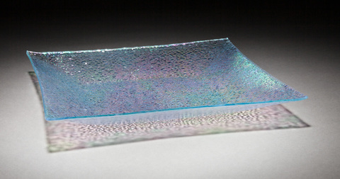 Glass Ware Square textured sparkle glass dish tray