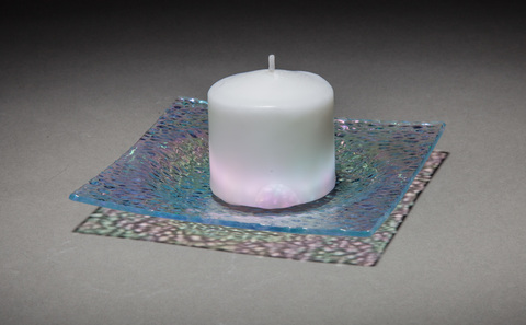 Glass Ware Textured sparkle coaster/candle holder