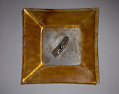 "Found Objects Upcycled recycled glass, Fused glass square, Found object art, Glass painted artwork, Serving tray dinner plate, Entitled ""Mary's Path"""