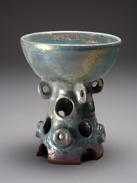 Raku, Pit Fire and Luster ware Beato Button Goblet