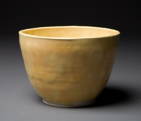 Raku, Pit Fire and Luster ware Butter Yellow Bowl