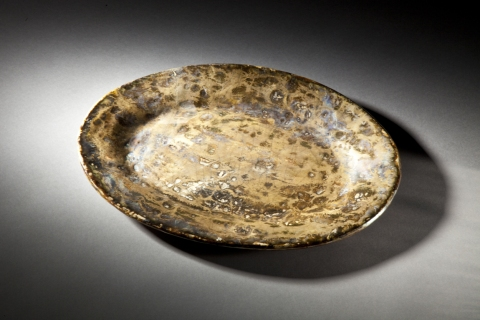 Raku, Pit Fire and Luster ware Large Gold Platter