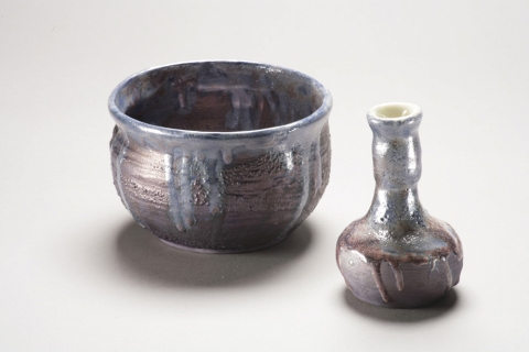 Raku, Pit Fire and Luster ware Blue Lustre Pot and Bottle