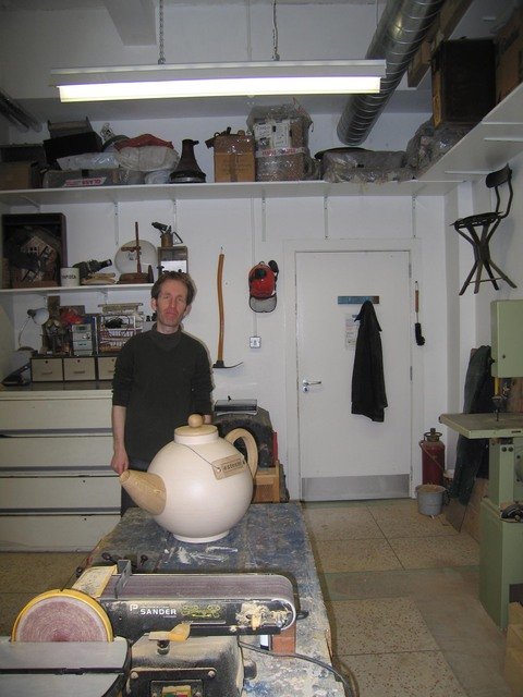 The WASPS Factory, 77 Hansen Street, Glasgow Chris and his teapot