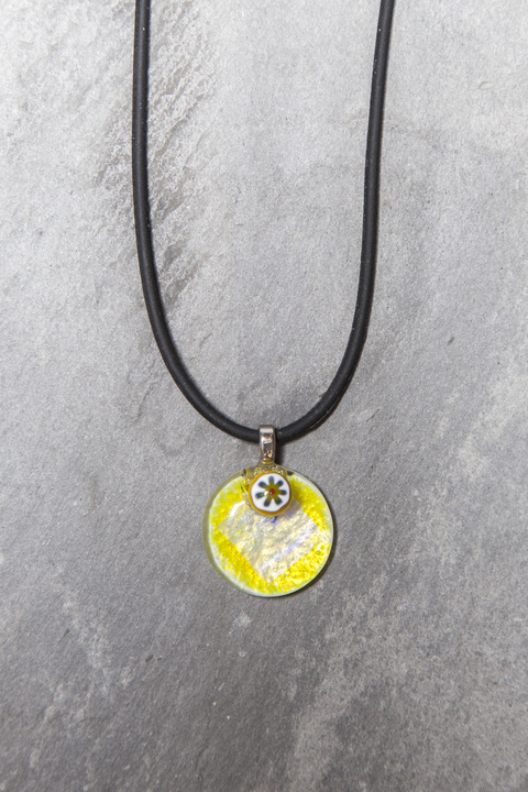 Glass Wear Mille Fiori Button pendant necklace