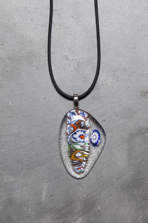 Glass Wear Tiger stripe Mille Fiori necklace