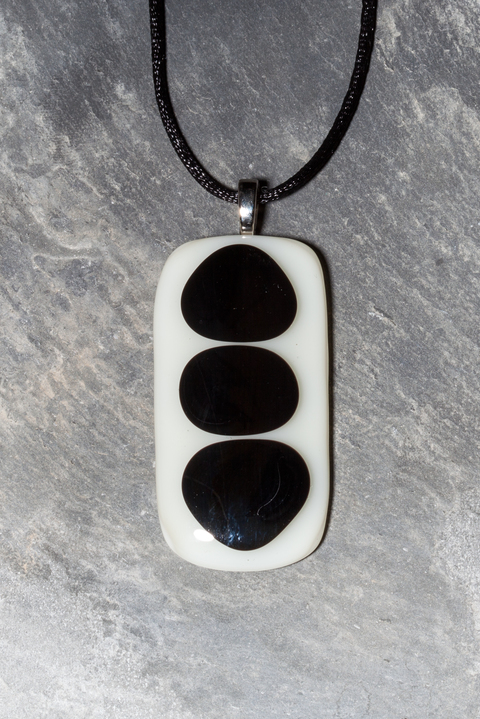 Glass Wear Ivory and black fused glass pendant necklace