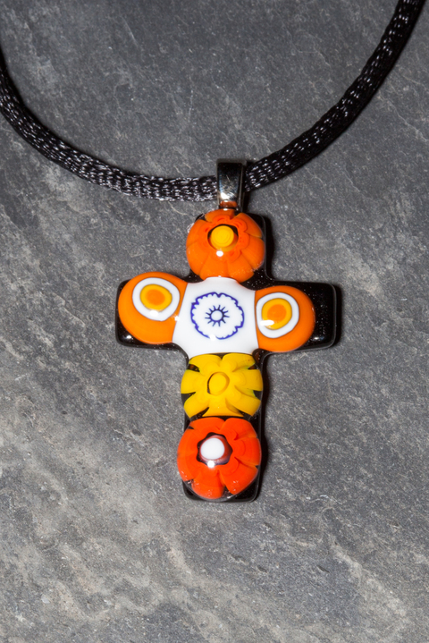 Glass Wear Mulitcolored orange fused glass crucifix pendant necklace