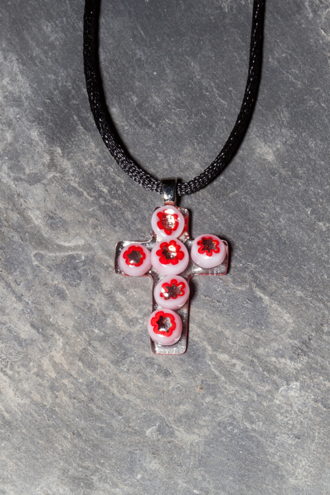 Glass Wear Red and white flower fused glass crucifix pendant necklace