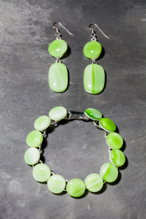 Glass Wear Green swirl earrings and Bracelet