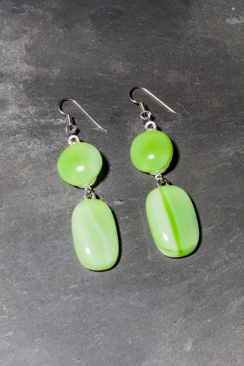 Glass Wear Green swirl earrings