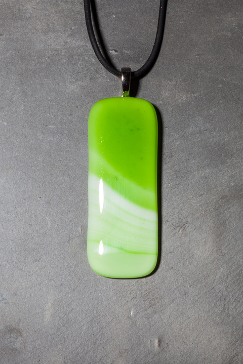 Glass Wear Large green swirl pendant necklace