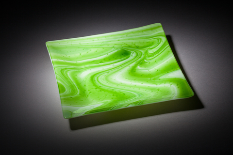 Glass Ware Green swirl square tray