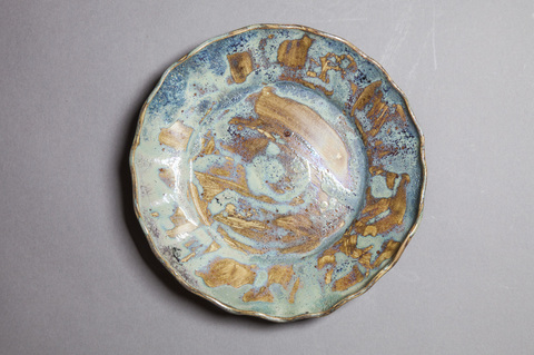Raku, Pit Fire and Luster ware Luster blue scalloped plate #7