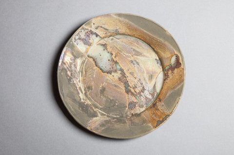 Raku, Pit Fire and Luster ware Small gold swirl plate #5