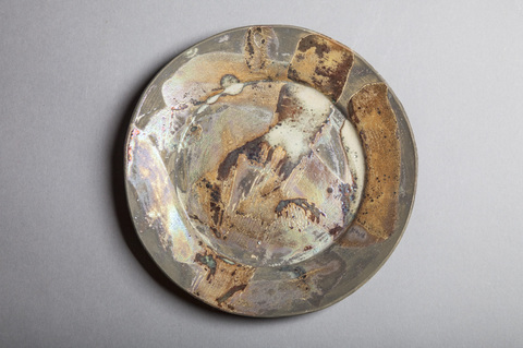 Raku, Pit Fire and Luster ware Small gold swirl plate #3